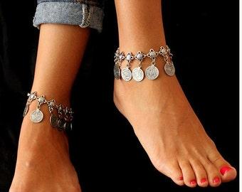 Antioch boho silver anklet / / / Bohemian gypsy ethnic anklet