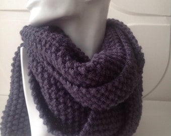 Denim Winter Hand Knitted Scarf