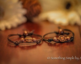Copper inspired leather bracelet