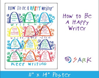 How to Be a Happy Writer Poster - SARK inspiration, keep writing, author, writer gift, watercolor art, art print, gift under 10
