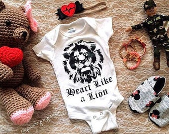 Heart Like a Lion, Baby Shirts, Toddler Outfit for Boy, Baby Outfit Boy, Baby Boy Bodysuit, Baby Shirt, Baby Girl Bodysuit, Hip Baby Clothes