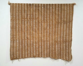 Camel color african mudcloth fabric throw arrow print, no.154