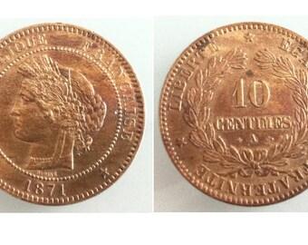 Antique Coin republique francaise 1871 liberte egalite 10 centimes fraternite A