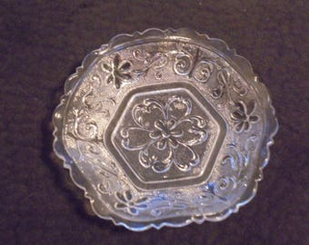 Old Hexagonal Pressed Glass  Flowered Dish