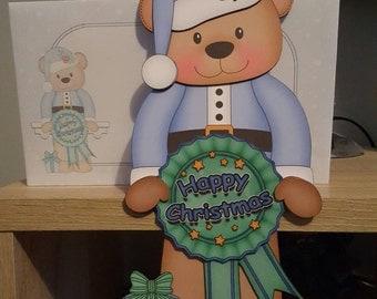 Teddy Bear in blue, rosette ribbon christmas card and envelope