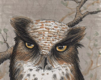 Angry Owl! original one-of-a-kind illustration