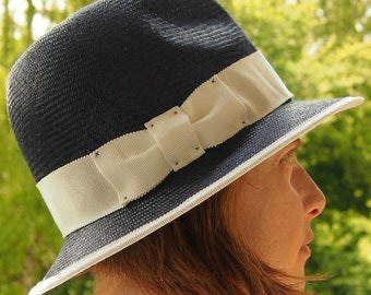 Straw Hat Trilby-white