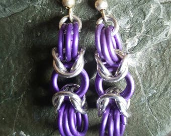 Purple and Silver chainmail earings