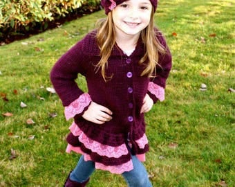 Knitted Sweater with Lace,Hand knitted Girls clothing