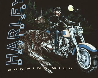 """VTG 1995 (XL) Harley Davidson """"Runnin' Wild"""" Wolf Graphic Tee"""