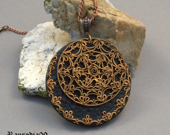 Jewelry necklace Polymer clay filigree necklace Black gold filigree pendant Tribal ethnic pendant
