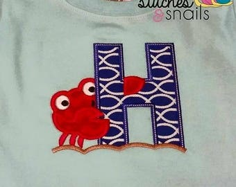 Letter with crab Applique Shirt