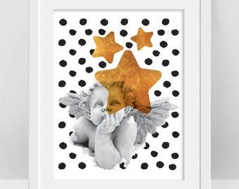 Angel Print, Angel Wall Art, Christmas Angel, Gold Star Print, Black Dots Decor, Guardian Angel Nursery Decor, Angel Art, Christmas Gift