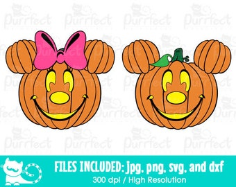 Mickey and Minnie Pumpkin Face SVG, Halloween Pumpkin SVG, Disney Digital Cut Files in svg, dxf, png and jpg, Printable Clipart