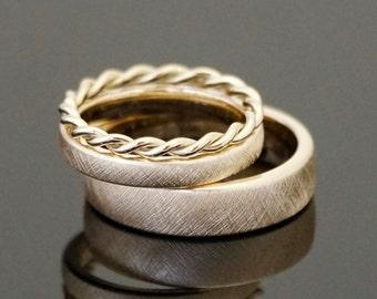 Circlet VINTAGE cord ring SET 8 k or 14 k