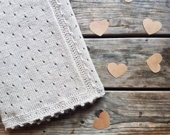 Knitted baby blanket/crochet edge/handmade blanket/baby shower gift