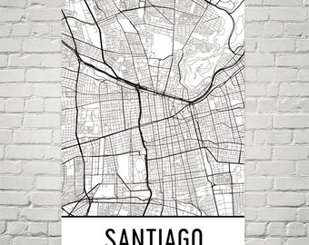 Santiago Map, Santiago Art, Santiago Print, Santiago Chile Poster, Santiago Wall Art, Santiago Gift, Santiago Decor, Santiago Map Art, Print
