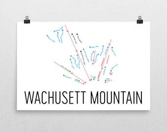 Wachusett Ski Map Art, Wachusett MA, Wachusett Trail Map, Wachusett Ski Resort Print, Wachusett Poster, Wachusett Mountain, Art, Gift