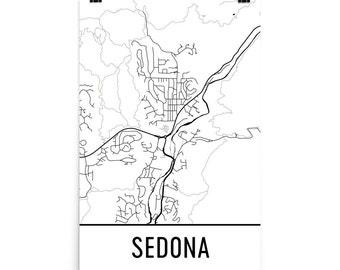 Sedona Map, Sedona Art, Sedona Print, Sedona AZ Poster, Sedona Wall Art, Map of Sedona, Sedona Gift, Sedona Decor, Sedona Map Art Print