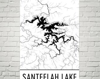 Santeelah Lake North Carolina, Santeelah Lake NC, Santeelah Lake Map, North Carolina Map, Lake Map, Santeelah Lake Art, North Carolina Art