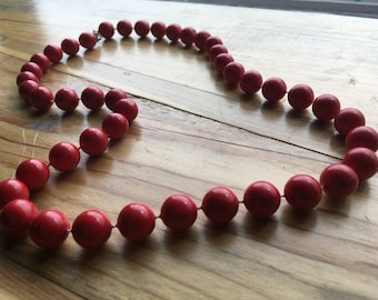 Vintage Red Bead Necklace, Apple Red, Love Red, Blood Red