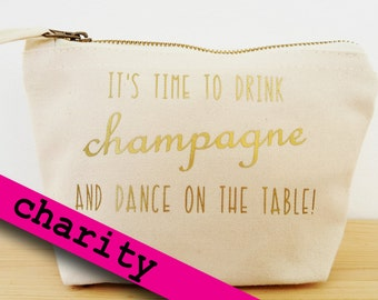 "Makeup bag ""champagne"", purse, pencil case, charity"