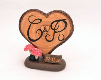 Rustic Wedding Cake Topper - Personalized  Cake Topper - Keepsake Wedding Cake Topper