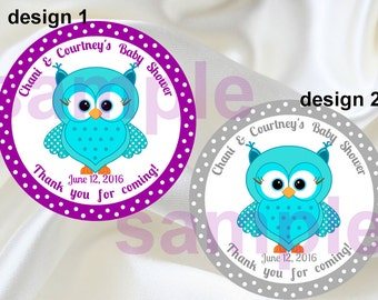 Turquoise Purple Owl stickers,Turquoise Owl thank you tags,Owl birthday Party stickers,Owl birthday favorsOwl birthday supplies,(1,2)