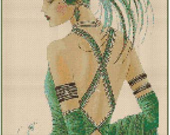 Art Deco Lady - Green #1-9