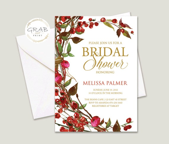 Winter Bridal Shower Invitation, Bridal Shower Invite, Bridal Shower Invitation, Bridal Shower Printable, Bridal Shower, DIY Bridal Shower