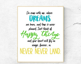 Neverland Quote, JM Barrie, Peter Pan, Instant download, 8x10, jpg, nursery, kids room