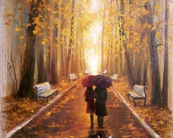 Original Oil Painting on canvas Warm autumn park, two lovers, pigeons