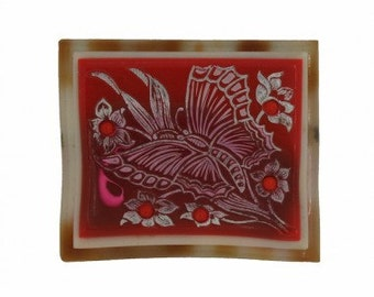 1930s Vintage Red and Silver Celluloid Butterfly Brooch