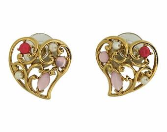 Trifari 1970s Vintage Heart Earrings