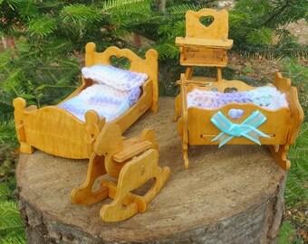Varnished Wooden Doll House Furniture