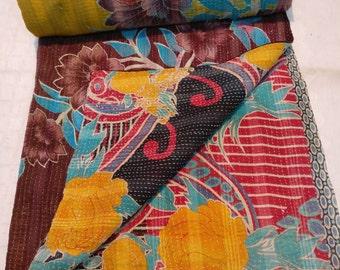 Reversible Handmade Kantha Gudari, Cotton Sari Quilt, Boho Sari throw, Bohemian Indian Bedding, Vintage throw.