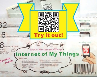 "evaTag - Unique QR Code Labels - Online Interraction - Internet of My Things (each size: 1.25"" x 1.75"")"