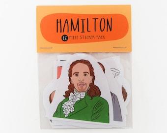 HAMILTON MUSICAL 12 piece sticker set, Hamilton sticker pack, Hamilton sticker set, Hamilton the musical, Schuyler sisters, Rise up, My shot