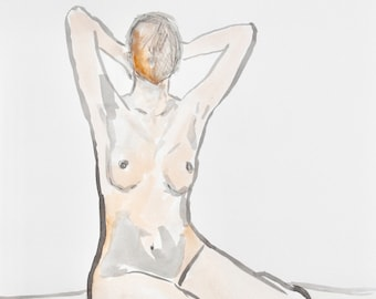 Blurred Vision / Figure Painting / Original Watercolor / Naked Lady Art / Nude Drawing