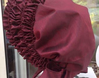 Listing for Tatiana - Jane Austen bonnet, Pride and prejudice movie replica bonnet elizabeth bennet 1995 made from pure silk, burgundy wine.