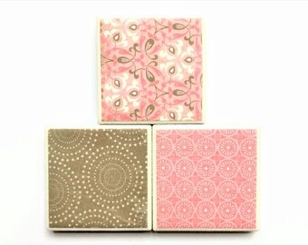 Pink + Brown Tile Magnets in Decorative Tin | Set of 3 | Super Strong Magnets | Handmade | Fridge Magnets | Pink Decor | Pink + Brown Decor