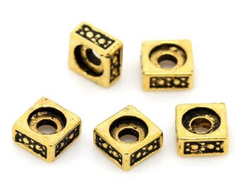 25 pc Antique Gold Deco Square Spacers approx 5x5mm