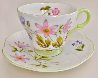 Shelley tea/coffee cup and saucer, Wild Anemones, 1959