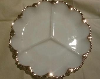 Vintage Milk Glass Serving Dish