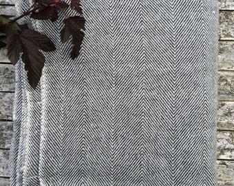 HOUSE OF BEULAH Herringbone Blanket & Throw - 100% Cashmere, Charcoal Grey