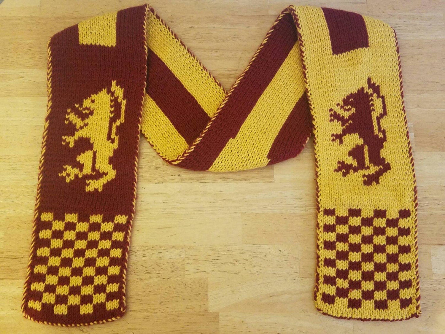 Gryffindor Scarf Double Knit with Harry Potter Hogwarts House Lion ...