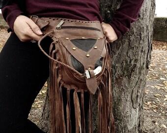 Leather utility belt pocket belt fanny pack hip belt hip bag steampunk belt festival belt navajo fringe belt