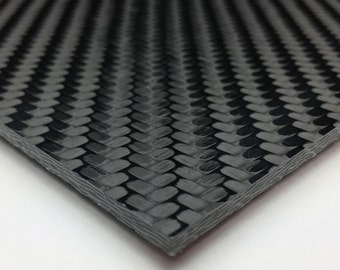 "Black Carbon Fiber plate 1/8"" thick, sold per square inch. Rings, Knives, Jewelry, Accessories"