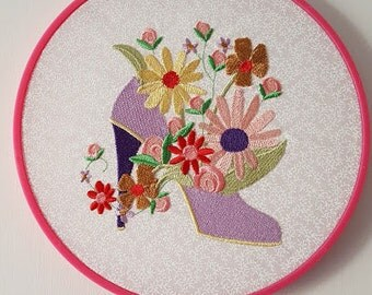 Purple Shoe Embroidery in a Hoop