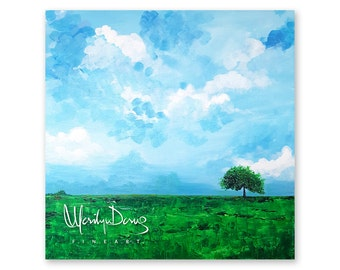 "20x20"" Landscape Painting, Original Semi Abstract Acrylic Art, Blue Skies, Tree Painting, Textured Green Landscape, MerilynDcruzFineArt"